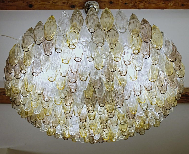 Poliedri Chandelier Murano Clear Amber Amethyst Glass 11