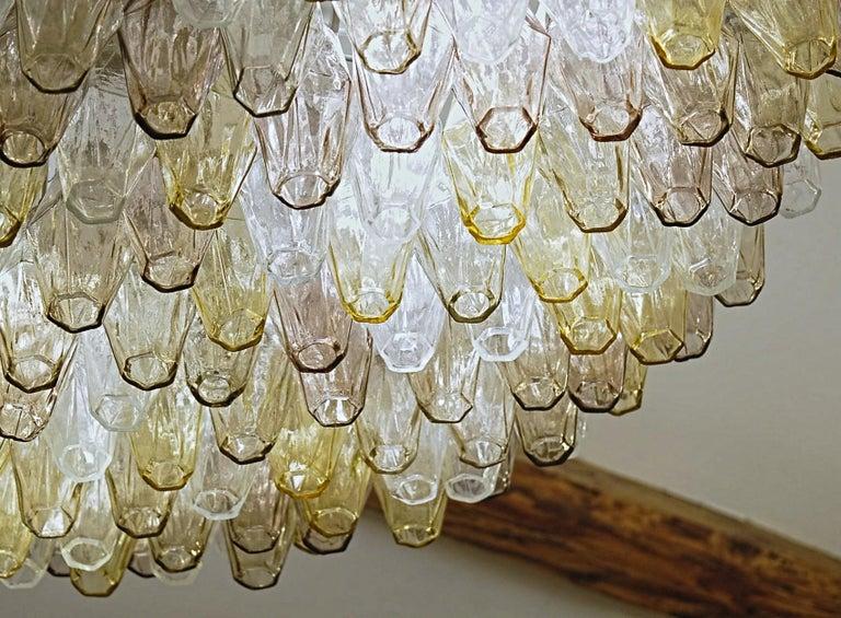 Poliedri Chandelier Murano Clear Amber Amethyst Glass 12