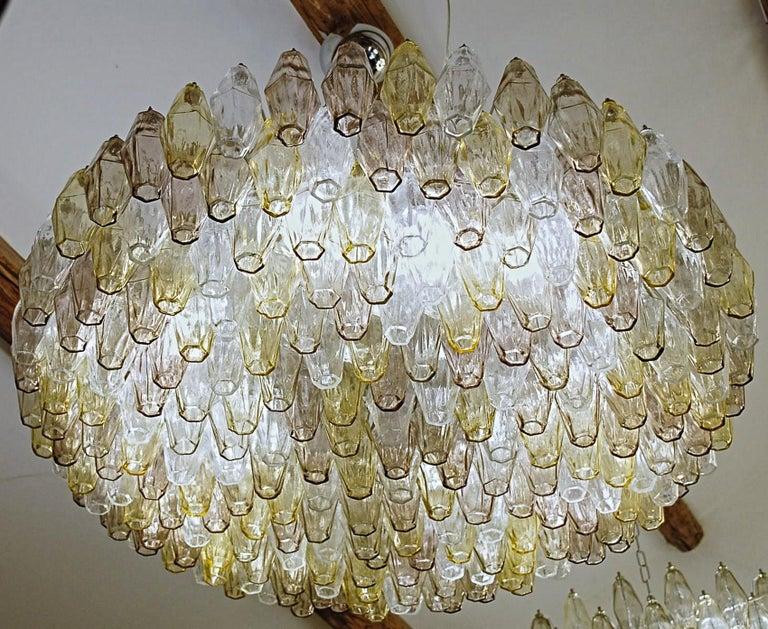 Poliedri Chandelier Murano Clear Amber Amethyst Glass 13