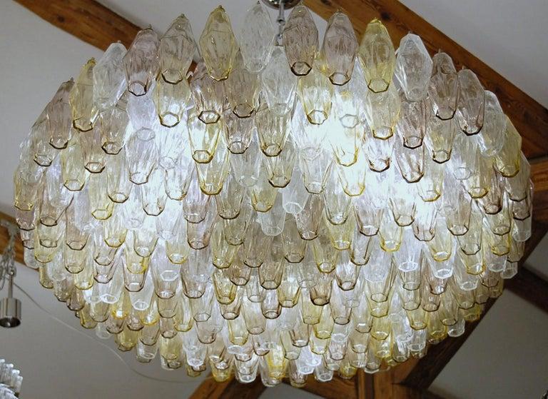 20th Century Poliedri Chandelier Murano Clear Amber Amethyst Glass
