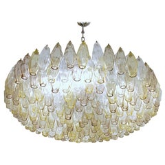 Poliedri Chandelier Murano Clear Amber Amethyst Glass