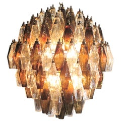 Poliedri Chandelier, Transparent and Smoked Glass Carlo Scarpa Style, Murano