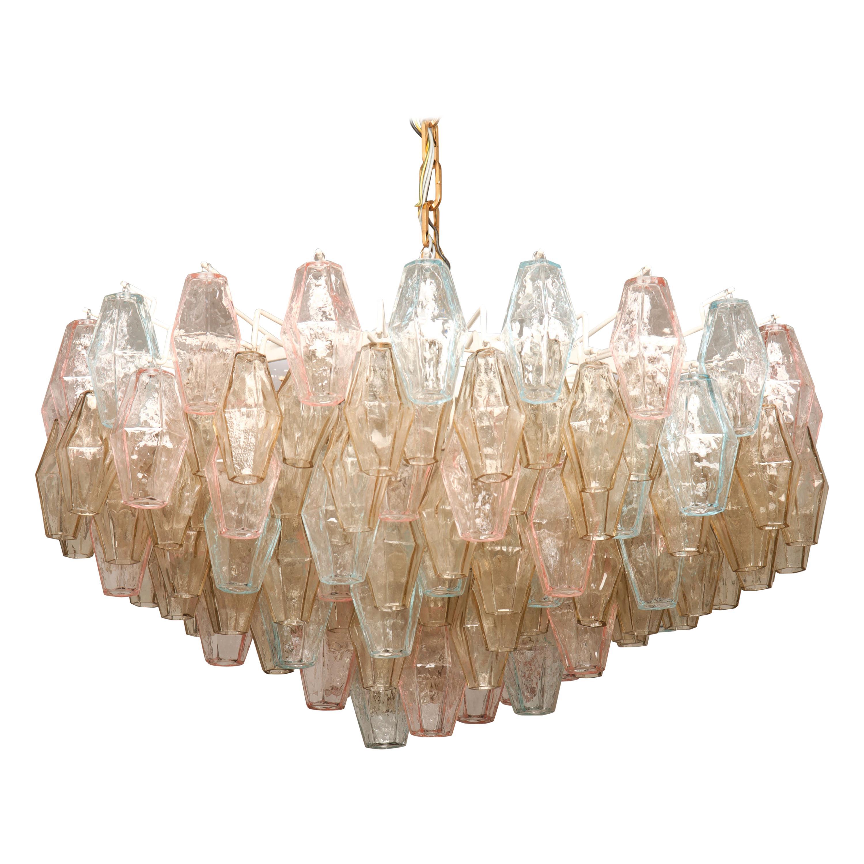 Poliedri Glass Chandelier by Carlo Scarpa for Venini
