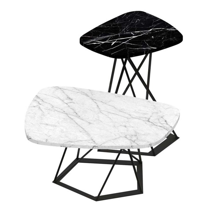 Italian Poliedrik Set of 2 Side Tables with Marble Tops by Franco Raggi For Sale
