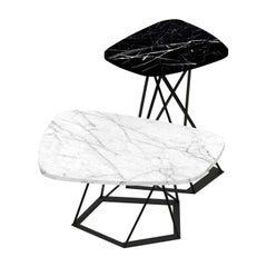 Poliedrik Set of 2 Side Tables with Marble Tops by Franco Raggi