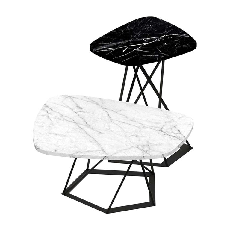 Poliedrik Set of 2 Side Tables with Marble Tops by Franco Raggi For Sale