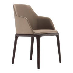 Poliform Grace Dining Chair with Armrests in Fabric or Leather & Solid Wood Base