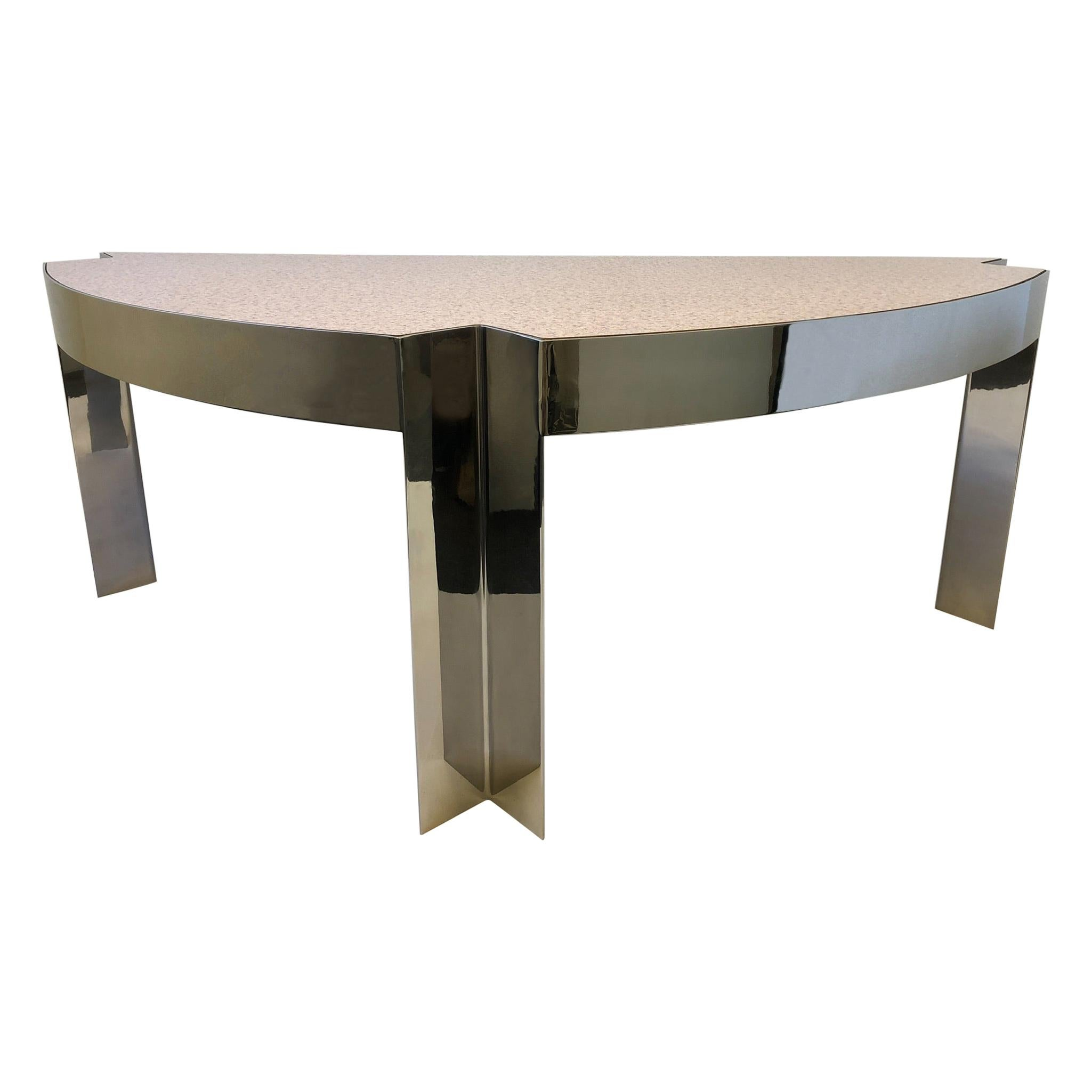 Polish Aluminum and Pink Granite Formica Desk by Leon Rosen for Pace Collection