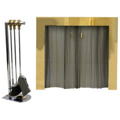 Polish Brass and Chrome Fireplace Set in the Manner of Maison Charles