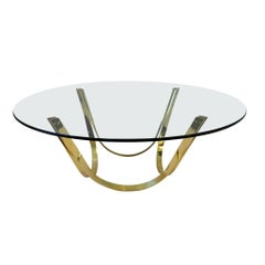 Polish Brass and Glass Cocktail Table by Tri-Mark