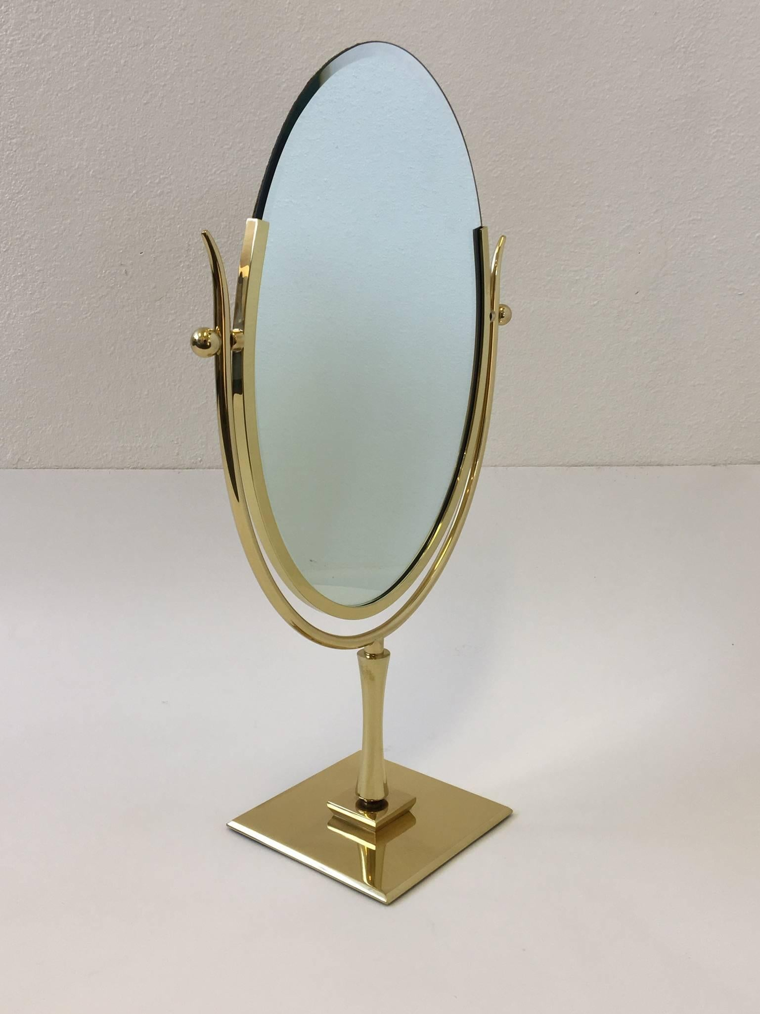Polish Brass And Leather Vanity Mirror By Charles Hollis Jones For At 1stdibs