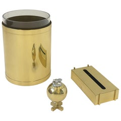 Polish Brass and Lucite Desk Accessories set by Charles Hollis Jones