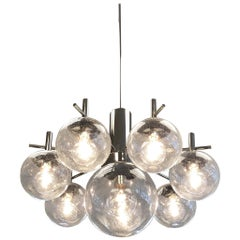 Polish Chrome and Eight Glass Globe Chandelier by Robert Sonemann