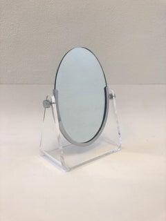 Polish Chrome and Lucite Vanity Mirror by Charles Hollis Jones