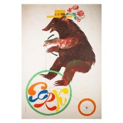 Polish, Cyrk/Circus Poster, 1970, Vintage, Bear Riding Penny Farthing, Srokowski