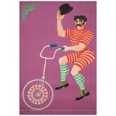 Polish, Cyrk, Circus Poster, 1970, Vintage, Unicycle Gentlemen, Hilscher