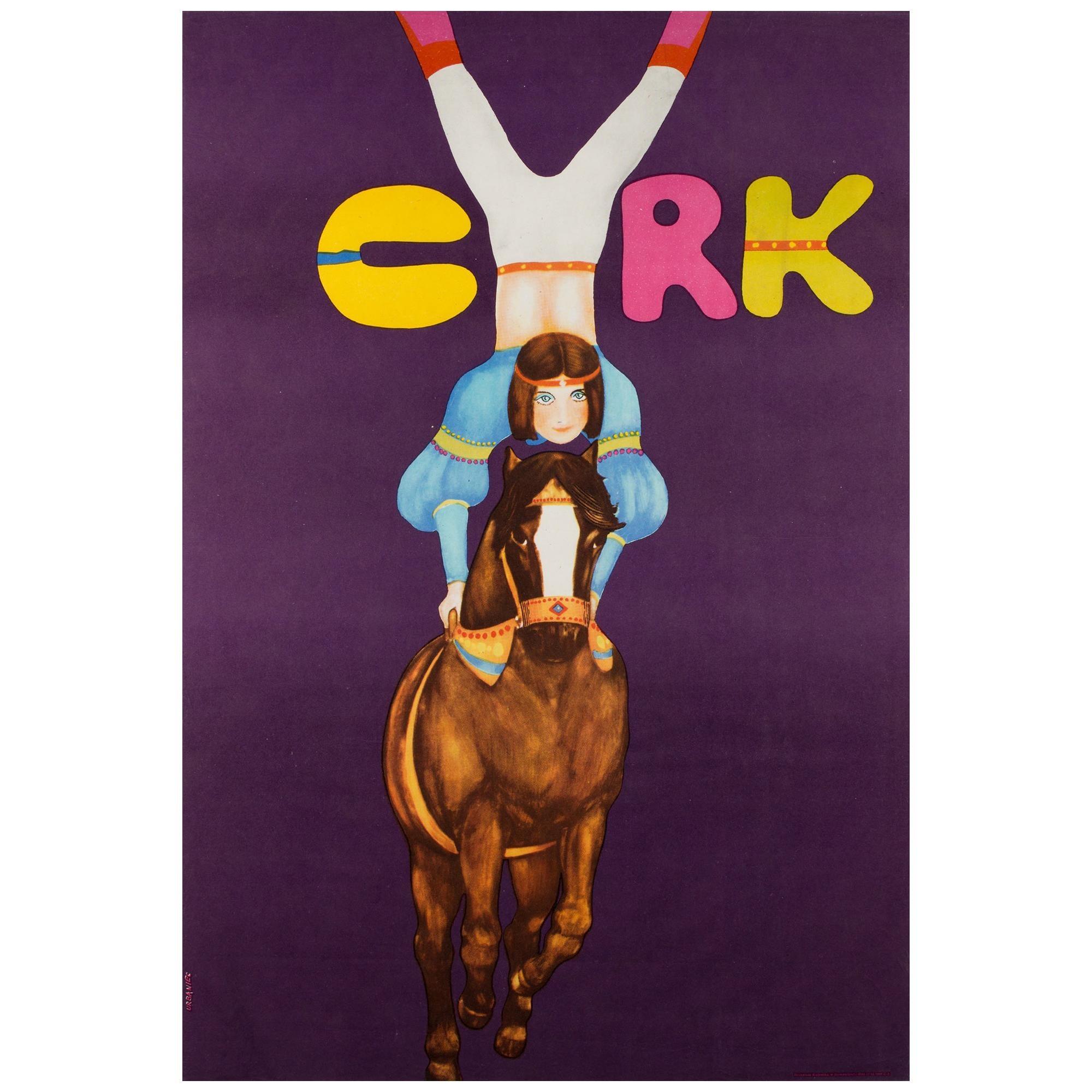 Polish, Cyrk, Circus Poster, 1982, Vintage, HORSE RIDING ACROBAT , URBANIEC