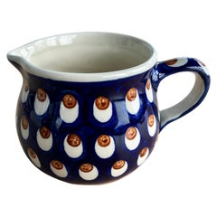Polish Mid-Century Modern Ceramic Hand painted Pitcher