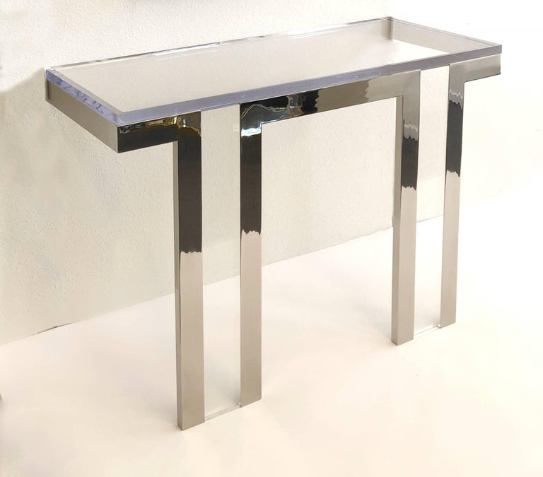 Polished Polish Nickel and Lucite Console Table by Charles Hollis Jones For Sale