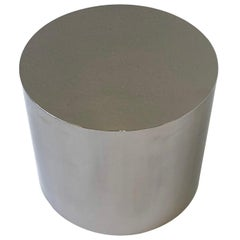 Polish Stainless Steel Drum Side Table by Brueton