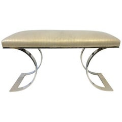 "Polish Stainless Steel and Leather ""JMF Bench"" by Karl Springer"