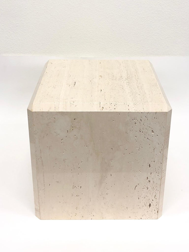 Modern Polish Travertine Cube Side Table by Kreiss For Sale