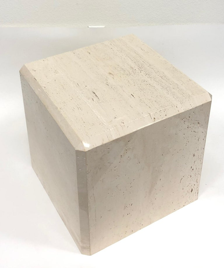 American Polish Travertine Cube Side Table by Kreiss For Sale