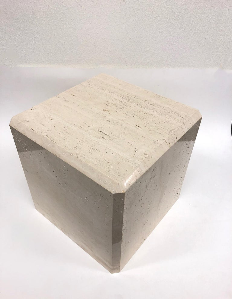 Polished Polish Travertine Cube Side Table by Kreiss For Sale