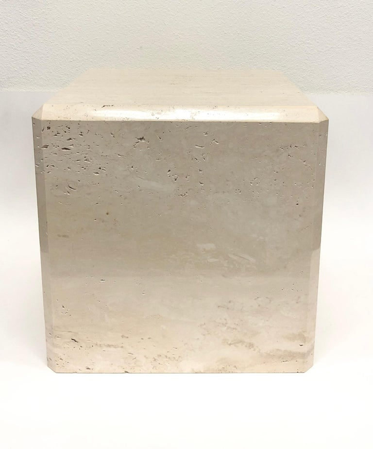 Late 20th Century Polish Travertine Cube Side Table by Kreiss For Sale