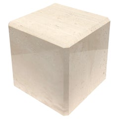 Polish Travertine Cube Side Table by Kreiss