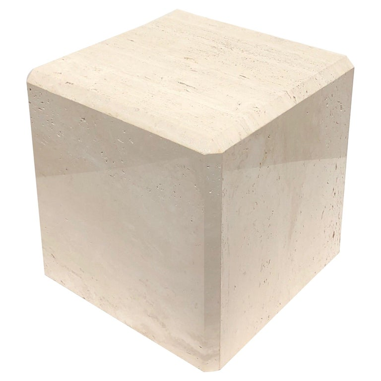 Polish Travertine Cube Side Table by Kreiss For Sale