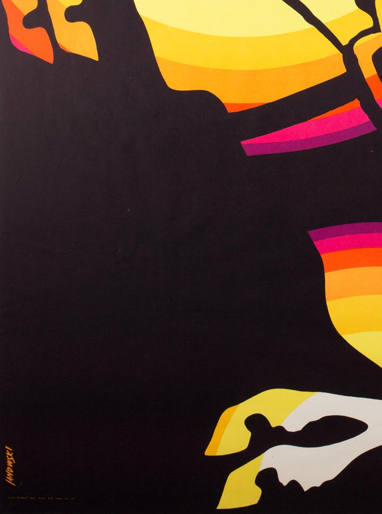Fabulous original Polish Cyrk/Circus poster by Witold Janowski. This one from 1969. Dazzling, colourful rearing horse design.