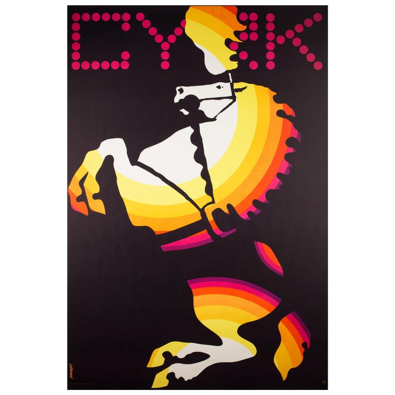 Polish, Vintage Cyrk/Circus Poster Cyrk Horse Rearing 1969, Janowski For Sale