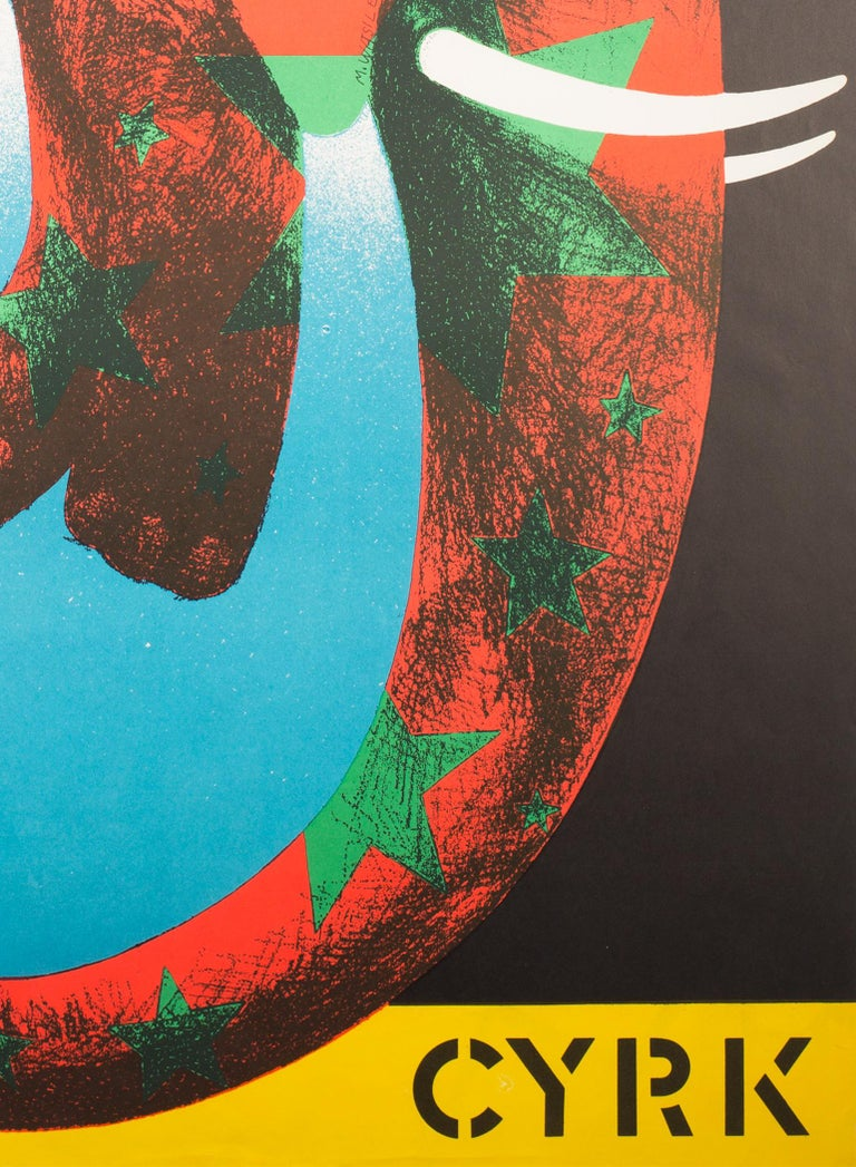 Polish, Vintage Cyrk/Circus Poster Star Elephant 1974, Wasilewski In Excellent Condition For Sale In Bath, Somerset