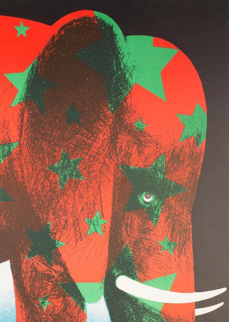 20th Century Polish, Vintage Cyrk/Circus Poster Star Elephant 1974, Wasilewski For Sale