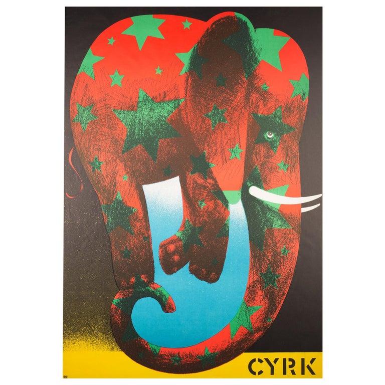 Polish, Vintage Cyrk/Circus Poster Star Elephant 1974, Wasilewski For Sale