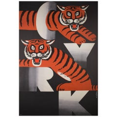 Polish, Vintage Cyrk/Circus Poster Two Tigers 1973, Gorka