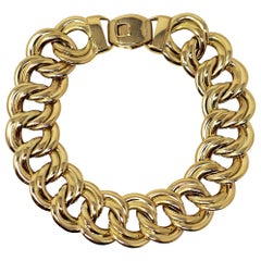 Polished 18 Karat Yellow Gold Italian Double Cable Chain Link Bracelet