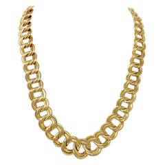 Polished 18 Karat Yellow Gold Large Graduated Double Cable Chain Link Necklace