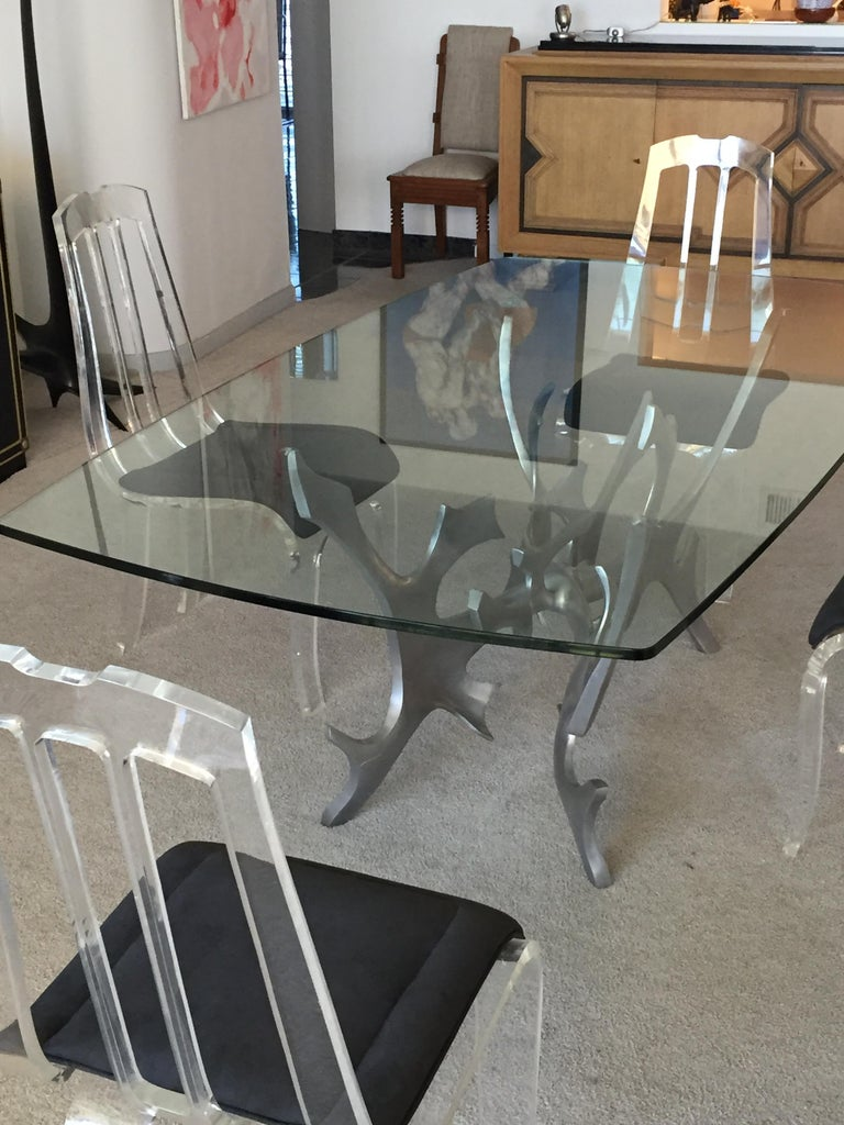 Sculptural Polished Aluminium and Glass Dining Table by Fred Brouard, circa 1979 For Sale 4