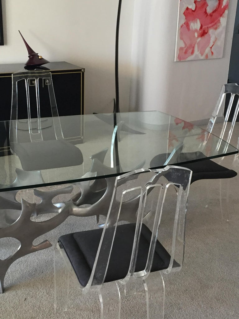 Sculptural Polished Aluminium and Glass Dining Table by Fred Brouard, circa 1979 For Sale 5