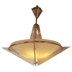 Polished Aluminium, Copper and Brass Art Deco Chandelier
