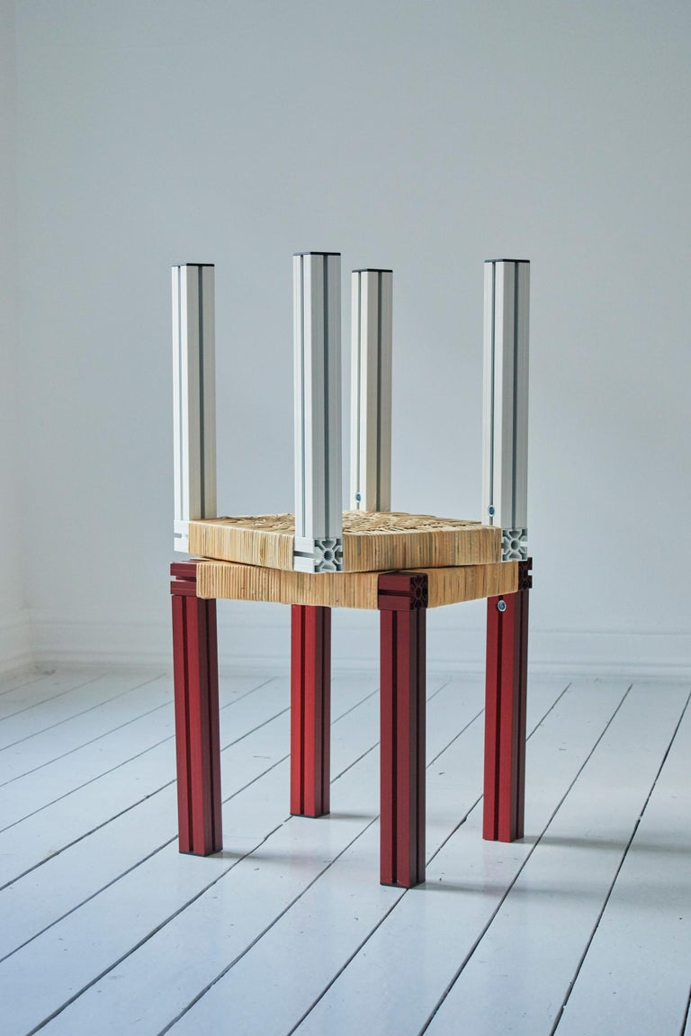 Polished Aluminium Stool with Flax Webbing Seat from Anodised Wicker Collection For Sale 4