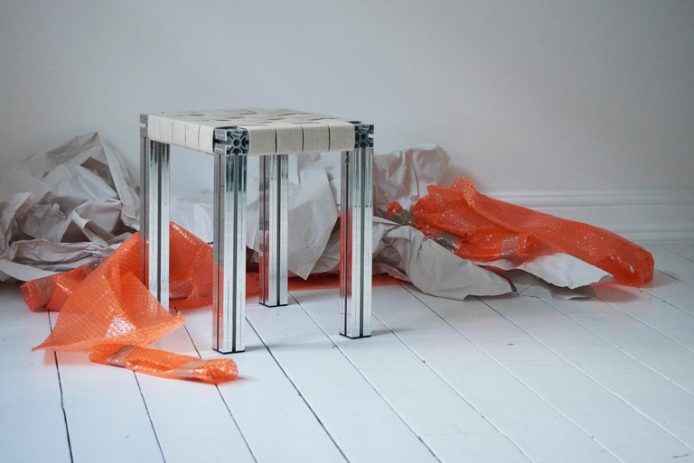 British Polished Aluminium Stool with Flax Webbing Seat from Anodised Wicker Collection For Sale