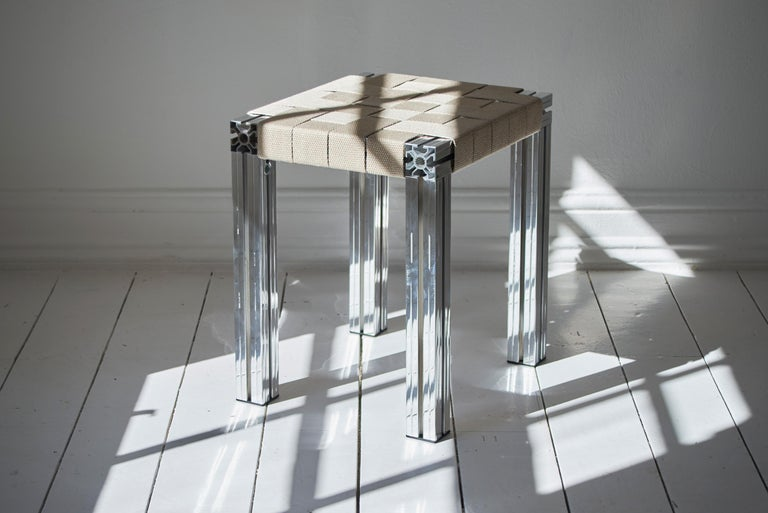 Anodized Polished Aluminium Stool with Flax Webbing Seat from Anodised Wicker Collection For Sale