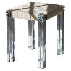 Polished Aluminium Stool with Flax Webbing Seat from Anodised Wicker Collection