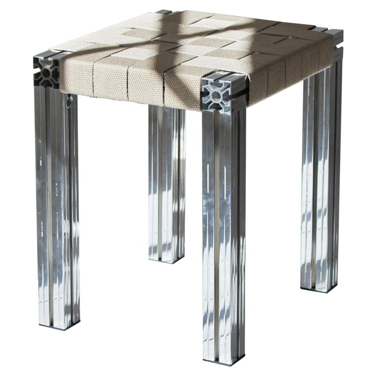 Polished Aluminium Stool with Flax Webbing Seat from Anodised Wicker Collection For Sale