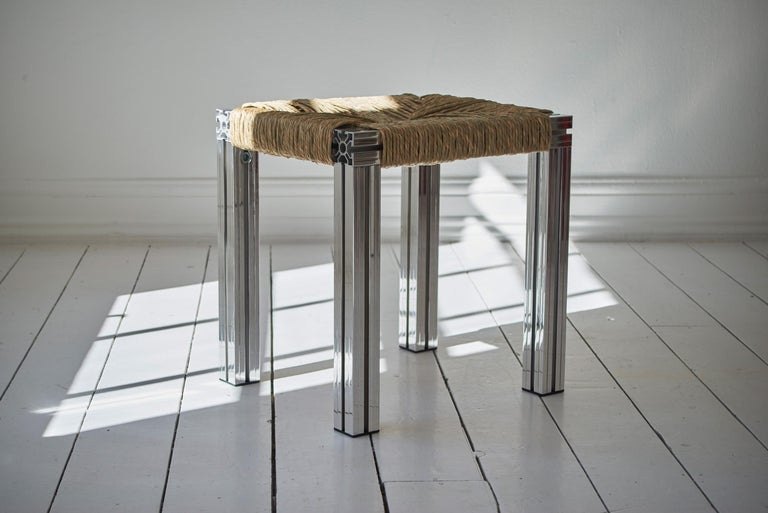 British Polished Aluminium Stool with Reel Rush Seating from Anodised Wicker Collection For Sale