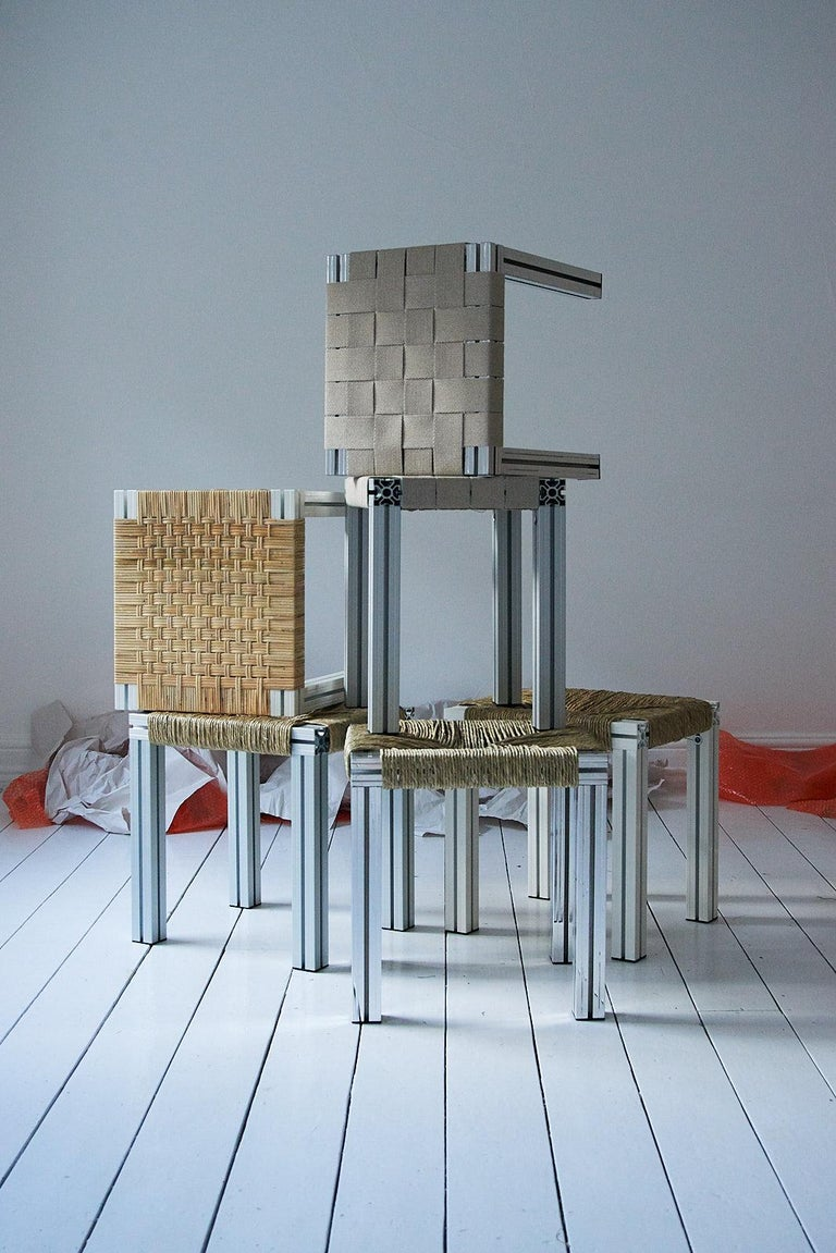 Anodized Polished Aluminium Stool with Reel Rush Seating from Anodised Wicker Collection For Sale