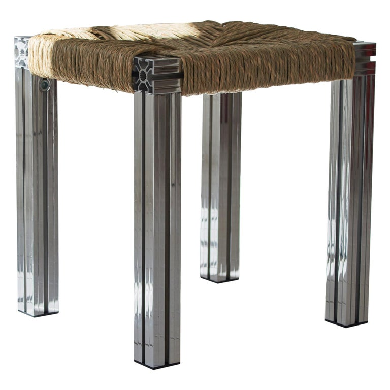 Polished Aluminium Stool with Reel Rush Seating from Anodised Wicker Collection For Sale